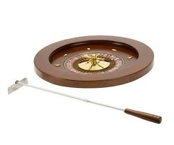 18 Deluxe Wooden Roulette Spinning Wheel Game With Metal Rake