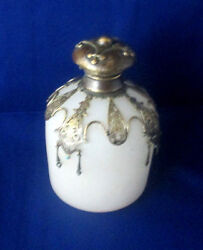Palais Royal Opaline Bottle And Stopper C1800 Glass Brass And Blue Stone Antique