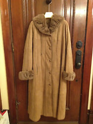 Gorgeous Shearling Coat With Mink Collar And Curly Lamb Lining 16-18 Xl