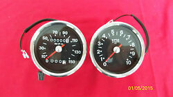 Triumph Motorcycle Reproduction Smith Black Faced Speedometer And Tachometer