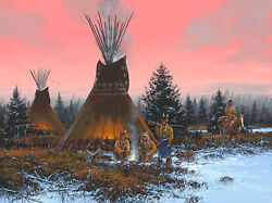 By The Fire's Glow John Paul Strain A/p Classic Canvas - Blackfoot Indians