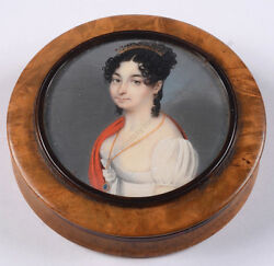 French Round Box With Fine Miniature Portrait Of A Young Lady, Ca. 1815