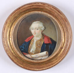 Portrait Of A Young Architector French High Quality Miniature 1760/70