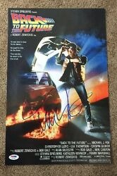 Michael J Fox Back To The Future Movie Poster Photo 11x17 Signed Psa Y21188