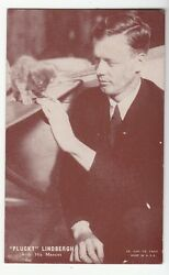 [51467] Old Exhibit Card Pin-up Capt. Charles Plucky Lindbergh With A Kitten
