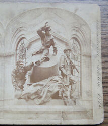 1876 Philadelphia Centennial Stereoview Of Statue Civil War Mortar And Soldiers