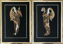 Erte Unique Pair - Enamel on Glass with Gold Foil Overlay - 39
