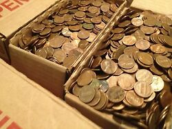 60 Face Value Us Copper Pennies Machine Sorted 1959-1982 40+ Lbs 6000 Coins