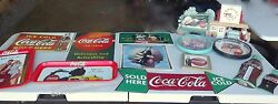 Coca Cola Metal Sign And Clock Tray Lot Mainly 1989-1995 Some Extras 13 Items