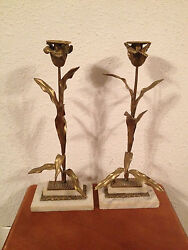 Vintage Pair Tall Gilt Metal And Marble Candle Stick Holders W/ Floral Decoration