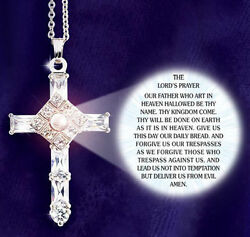 THE LORD#x27;S PRAYER CROSS NECKLACE with Austrian crystals Gift NEW IN GIFT BOX $36.98