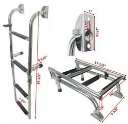 Pactrade Marine Foldable Ss 4 Steps Ladders Stern Mount W Rubber Grips