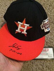 2014 George Springer Futures Game Used Signed And Inscribed Cap- Mlb Holo-tristar