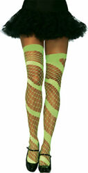 Morris Costumes Women's Diamond Net Thigh High Neon Green One Size. UA6325NG