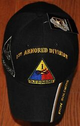 Black 1st First Armored Division Army Hat Ball Cap Old Ironsides Iron Soldiers