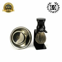 3 Pc Wet Shaving Set- 100 Pure Badger Hair Shaving Brush, Stand And Shaving Cup
