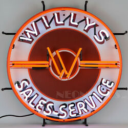 Willys Jeep Neon Sign Lamp Light Kaiser Overland Wagon Woody Pickup Wall Lamp