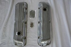 Polished Aluminum V8 Ford 260 289 302 351w Finned Short Valve Covers Sbf Mercury