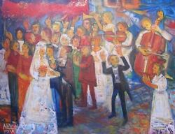 ORIGINAL ABRAHAM YAKIN SIGNED OIL ON CANVAS PAINTING  JEWISH WEDDING ISRAEL
