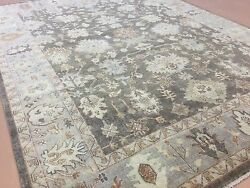9and039.0 X 11and039.10 Muted Brown Beige Fine Oushak Oriental Area Wool Rug Handmade