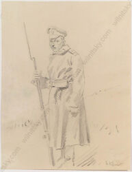 Hugo Klein 1866-1932 Study Of A Russian Soldier In Wwi Drawing Ca. 1915