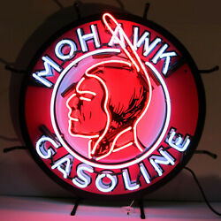 Mohawk Gasoline Neon Sign Wall Lamp Gas Oil Pump Glabe Light American Indian