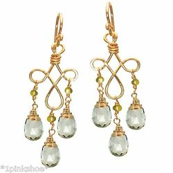 Galapagos 67 Green Amethyst And Peridot Dangling Earrings With Metal Choice
