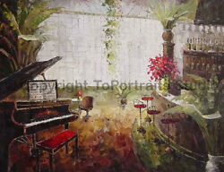 The Wine Bar With Piano Original Hand Painted Oil Painting on Canvas 34