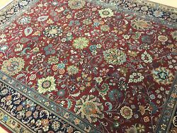 8' X 10' Red Navy Blue Fine Traditional Oriental Rug Hand Knotted All Over