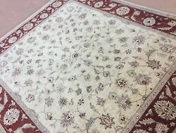 8and039.1 X 9and039.4 Beige Red Fine Ziegler Oriental Rug Hand Knotted All Over Wool