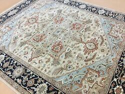 8' X 10' Brown Navy Blue Very Fine Quality Geometric Oriental Rug Hand Knotted