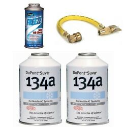 2x DuPont Suva  Chemours R-134a 1x Johnsen's Ester Oil Charge AC Recharge Kit w