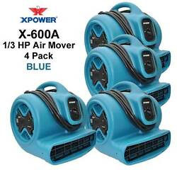 Xpower 1/3hp Air Mover Carpet Dryer Blower Floor Fan W/gfci Outlets 4 Pack-blue