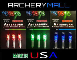 3 AFTERBURN CROSSBOW ARROW LIGHTED NOCKS FITS BOLTS SIZE 297 302 MADE IN USA $17.95
