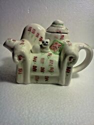 Vintage 1995 Tee-nee Ceramic Teapot With Lid- Kitty On Couch