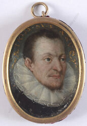 Portrait Of A 25-year-old Man Spanish Oil On Copper Miniature 1625/30