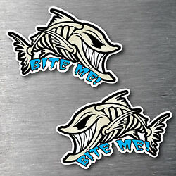 Bite Me Angry Fish 2 Pack Sticker Large Quality Water And Fade Proof 7 Year Vinyl