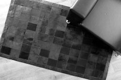 Bunkarand039s Handmade Natural Cowhide Leather Luxurious Rugs - And039black Pantherand039