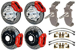 Wilwood Disc Brake Kit And 2 Drop Spindles55-5712 Drilledred Calipersheidtand039s