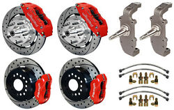 Wilwood Disc Brake Kit And 2 Drop Spindles,55-57,12 Drilled,6/4 Piston Red,heidt