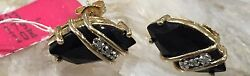 14k Yellow Gold Faceted Onyx Marquis Shape 6 Real Diamonds Retails 523 1369