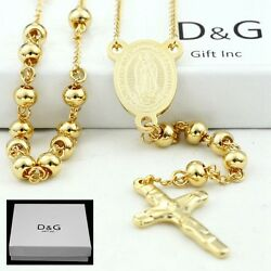 DG 25quot; Stainless Steel Gold Beaded Rosary VIRGIN MARYJESUS CROSS Necklace BOX