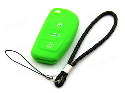 Green Remote Silicone Case Cover For Audi Flip Folding Key 3 Buttons 4 3B A059GR