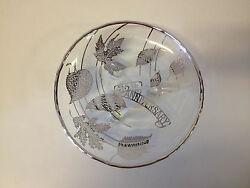 Vintage 25th Anniversary Sterling Silver Overlay Plate / Dish W/ Leaf Decoration