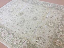 8 X 10 Light Brown Green Fine Oushak Oriental Area Rug Hand Knotted Wool