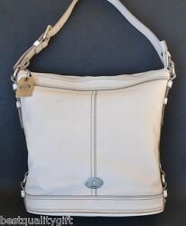 New Fossil Maddox Bucket White Leather Totehand+shoulder Bagpurse