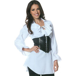 Morris Costume Women's Long Sleeve Pirate Lace Blouse White Black SM. UR28308SM