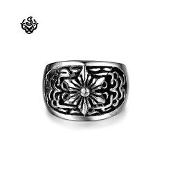 Silver bikies ring stainless steel flower band soft gothic