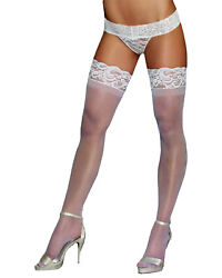 Morris Costumes Women's New Lace Top Thigh High Sheer White One Size. RL0005WT
