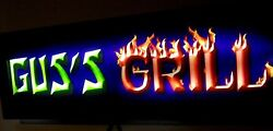 Personalized Led Lighted Bbq Grill Bar Sign 3-d Style Remote Control Lighting